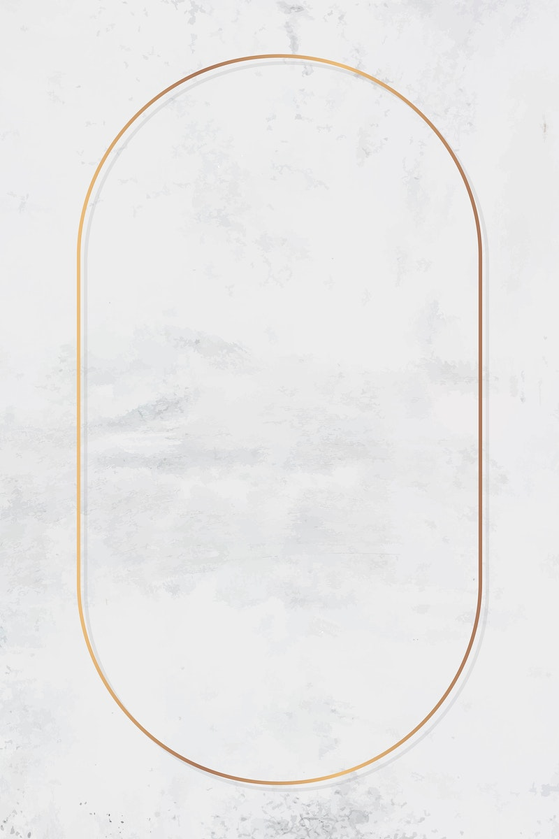 Oval gold frame on white marble background vector
