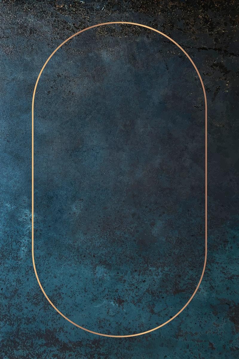 Oval gold frame on grunge blue background vector