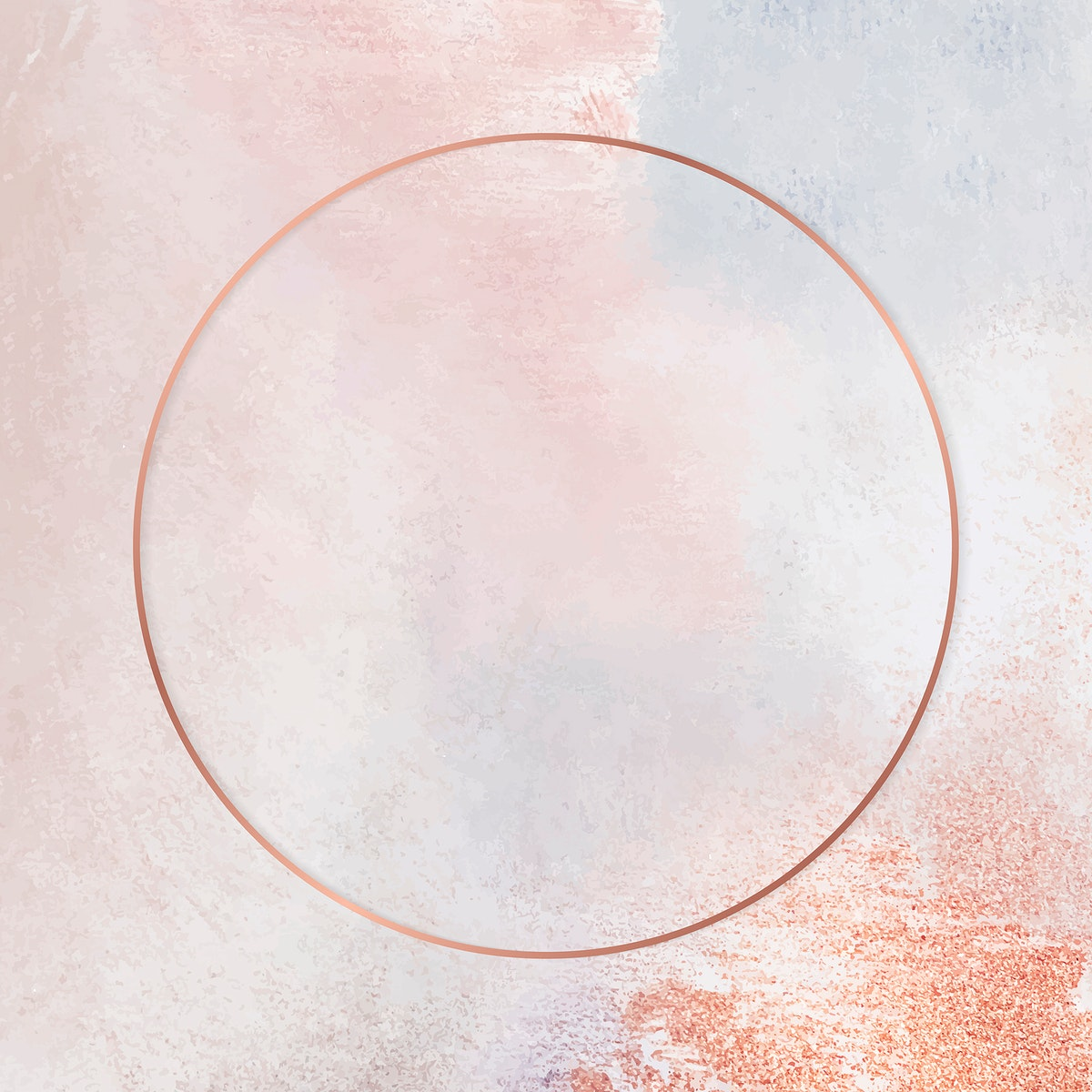 Round copper frame on pastel background vector