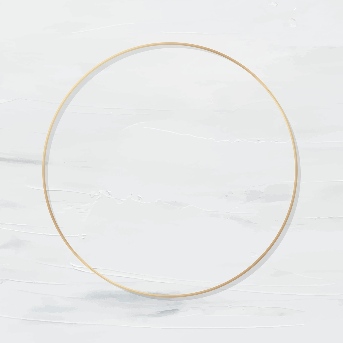 Round gold frame on white painted background vector