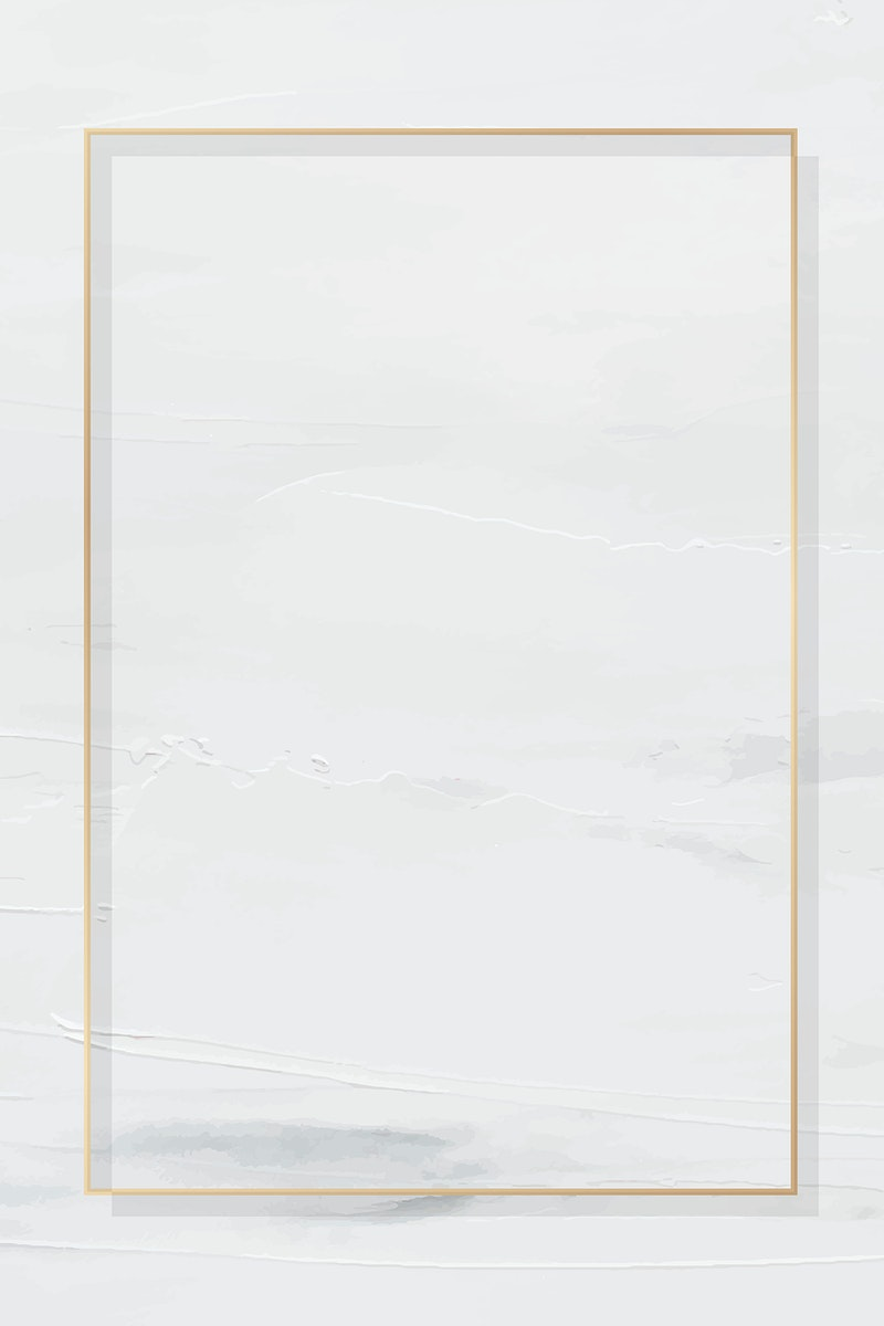 Rectangle gold frame on white painted background vector