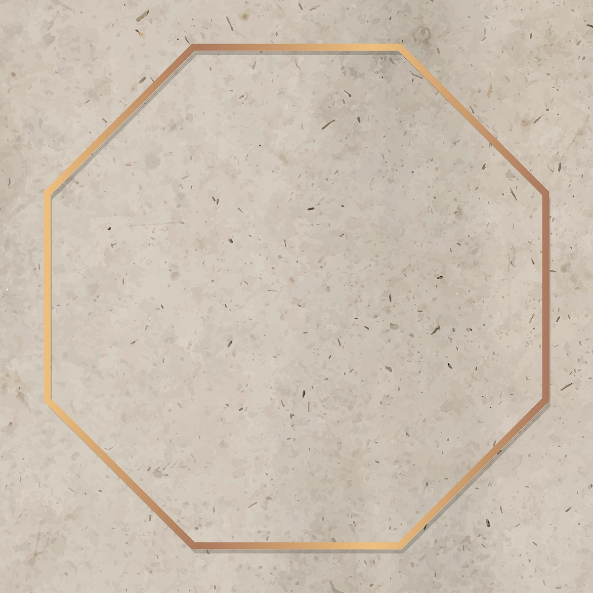 Octagon gold frame on brown marble background vector