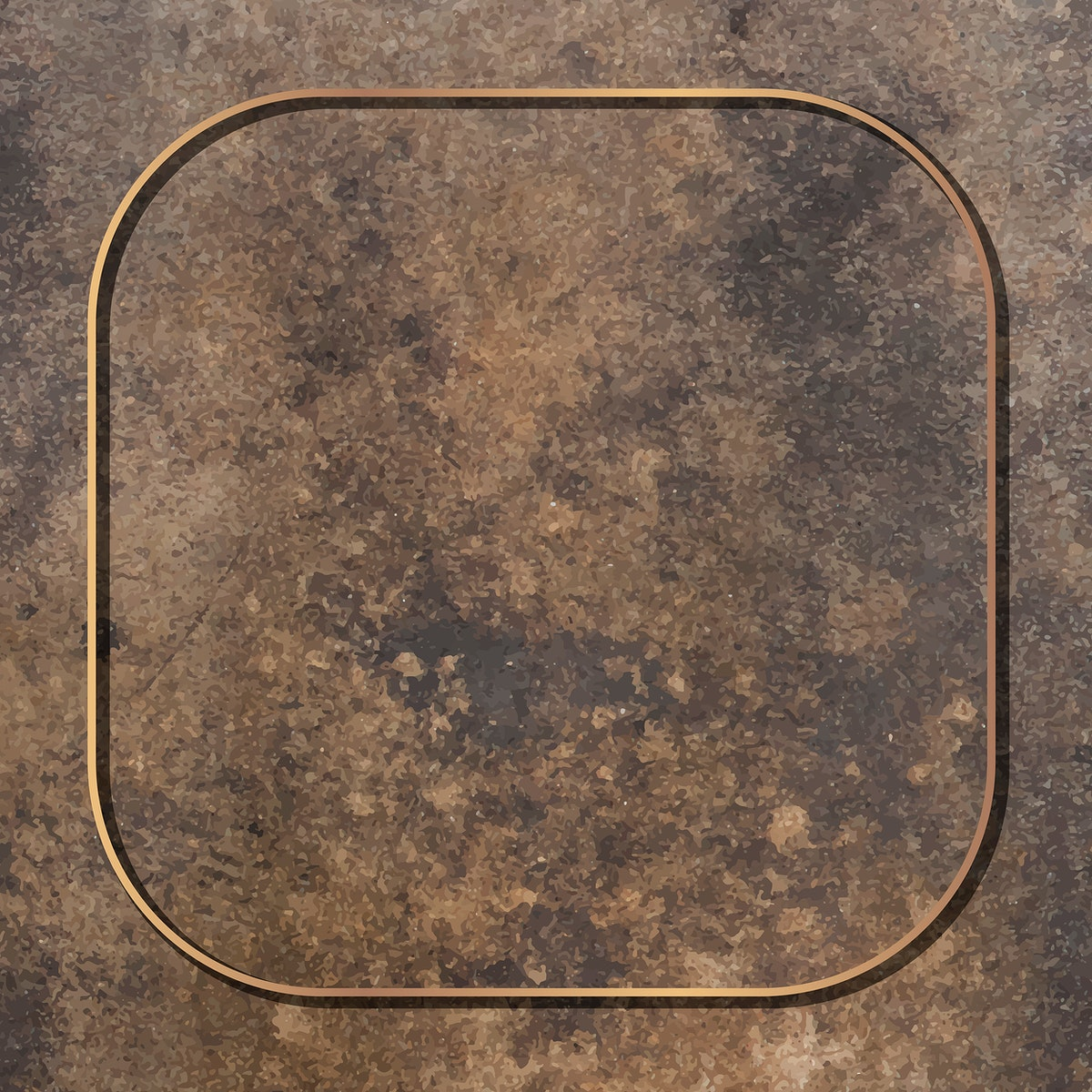Square gold frame on grunge brown background vector