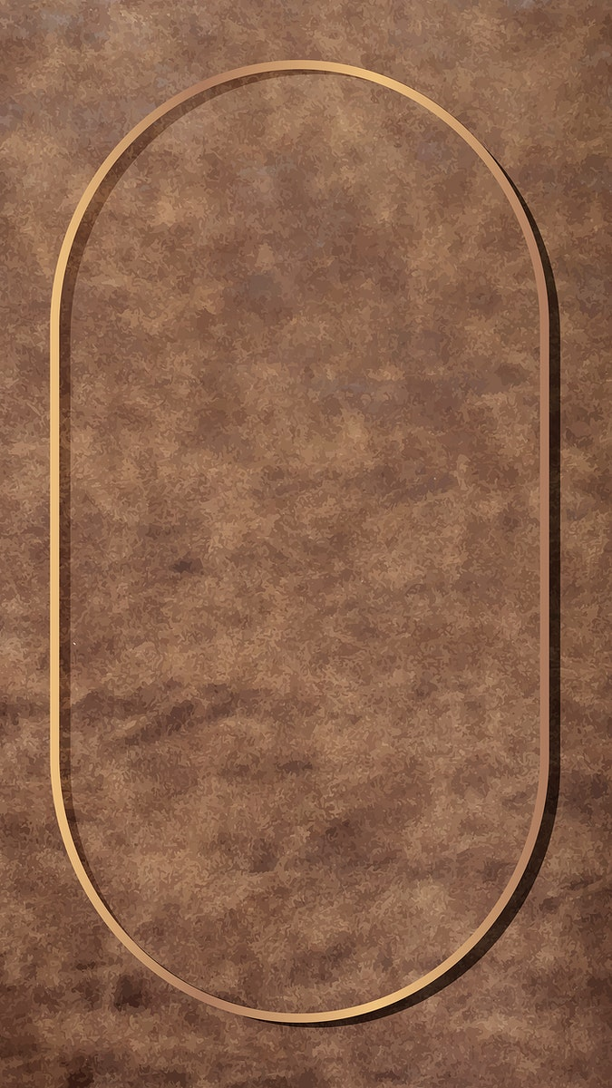 Oval gold frame on brown leather texture mobile phone wallpaper vector