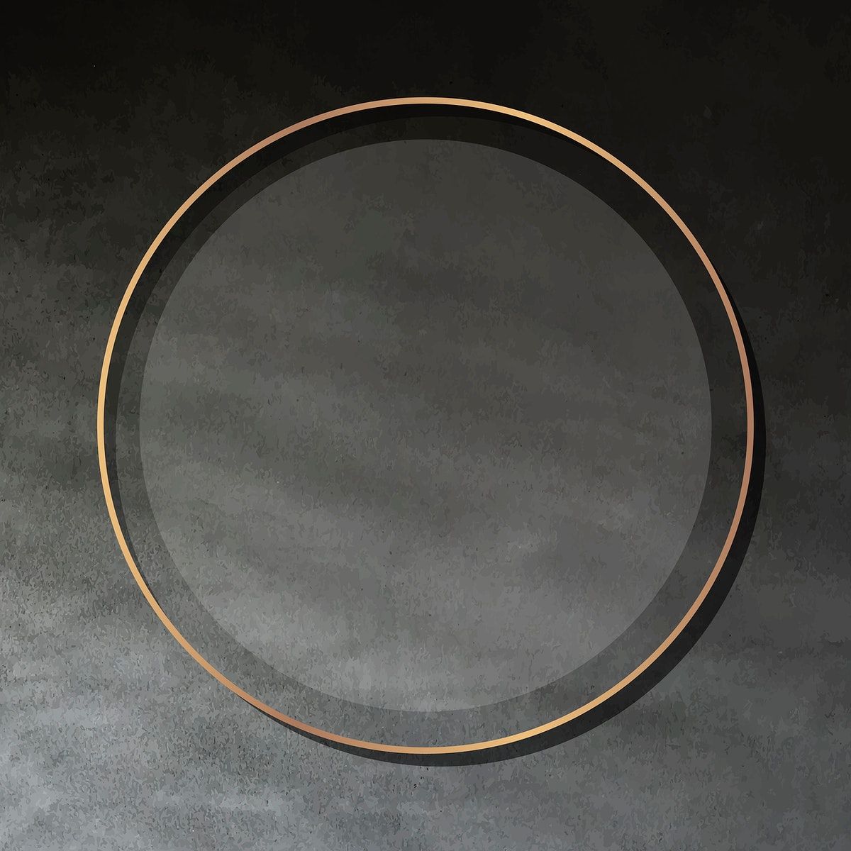 Round gold frame on dark cement background vector