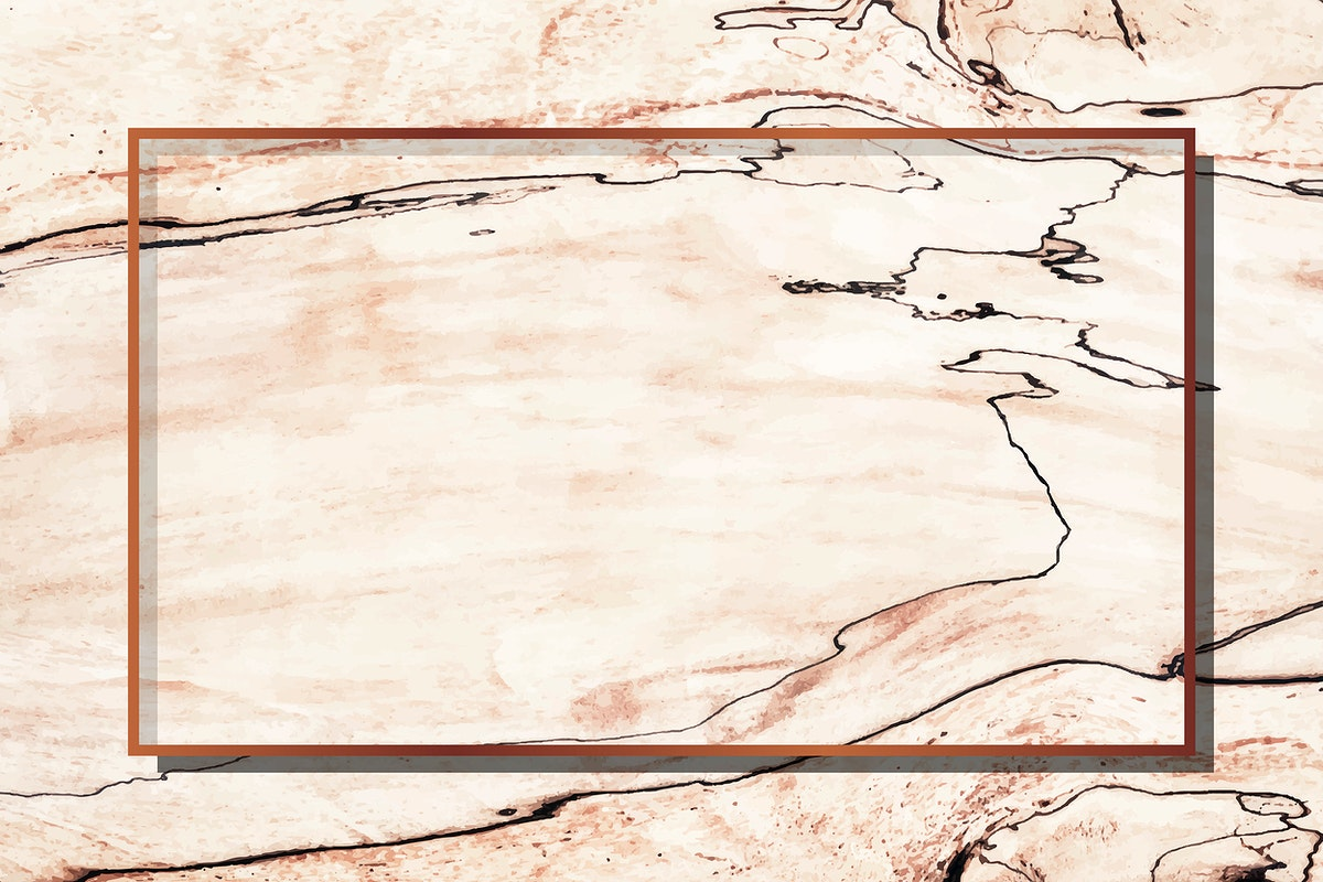 Rectangle copper frame on beige marble background vector