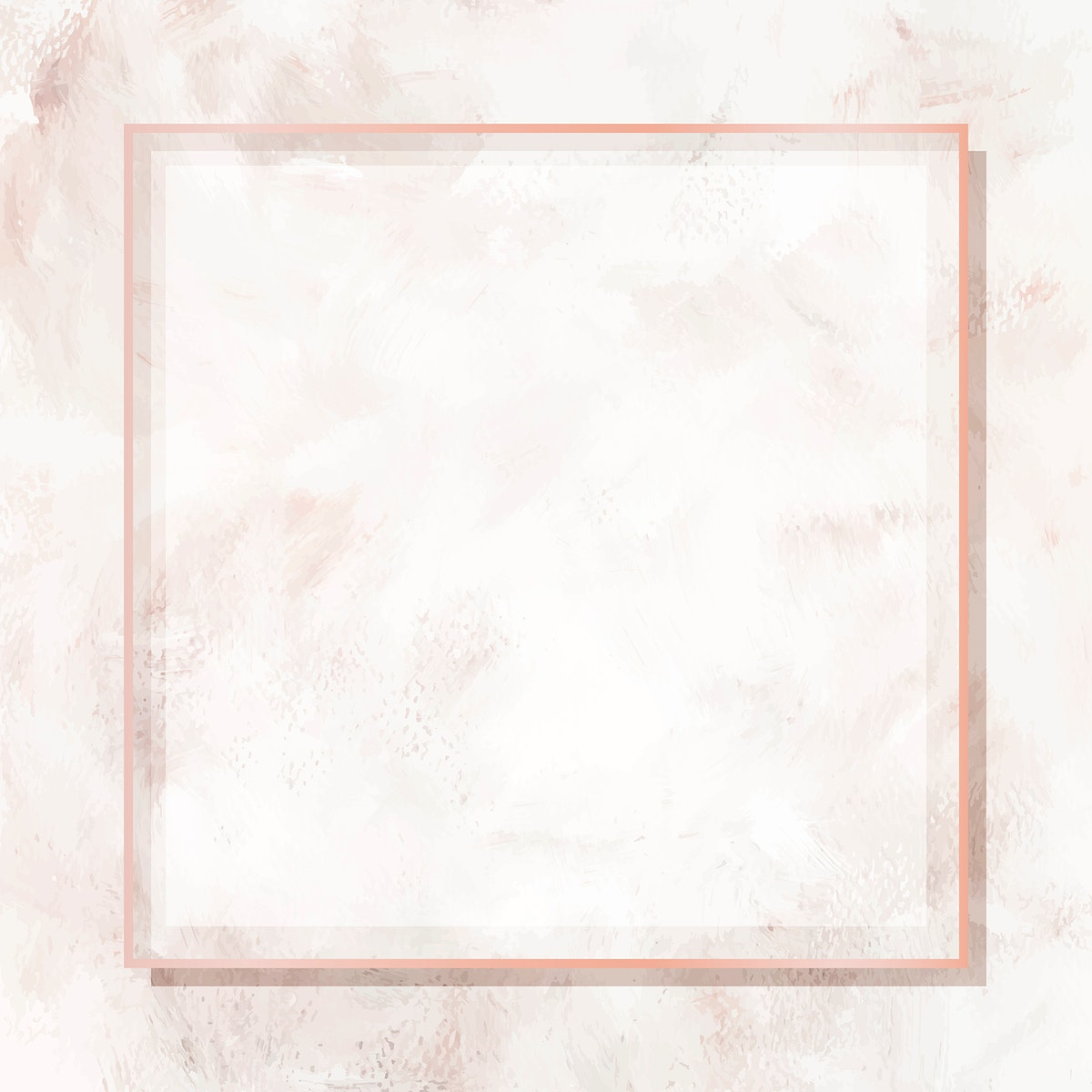 Square rose gold frame on beige marble background vector