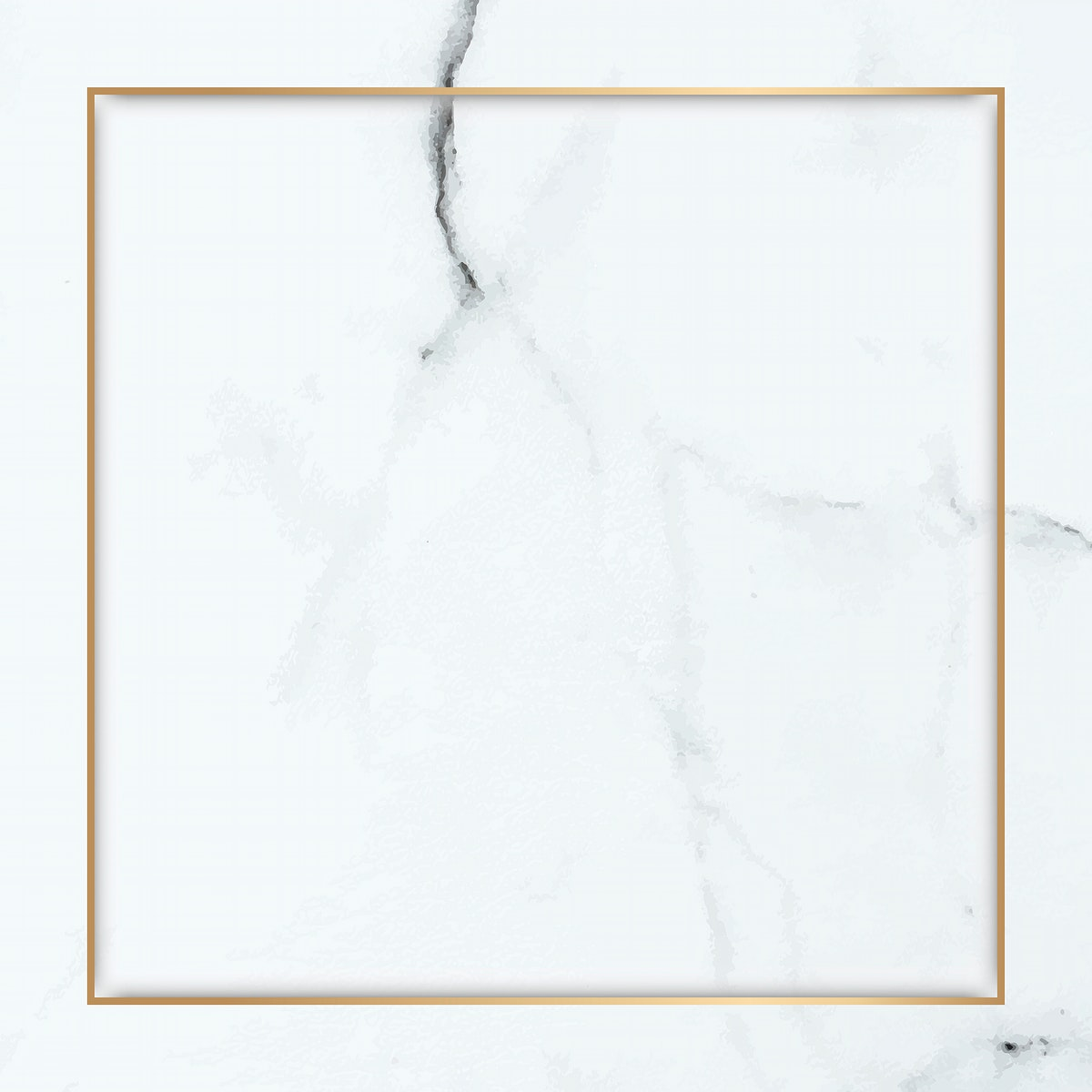 Square gold frame on white marble background vector