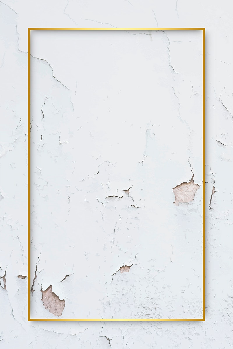 Rectangle gold frame on weathered white paint textured background vector