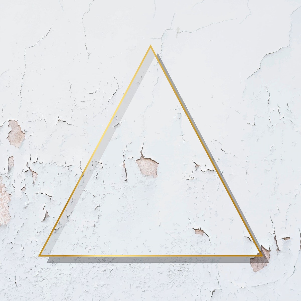 Triangle  gold frame on weathered white paint textured background vector