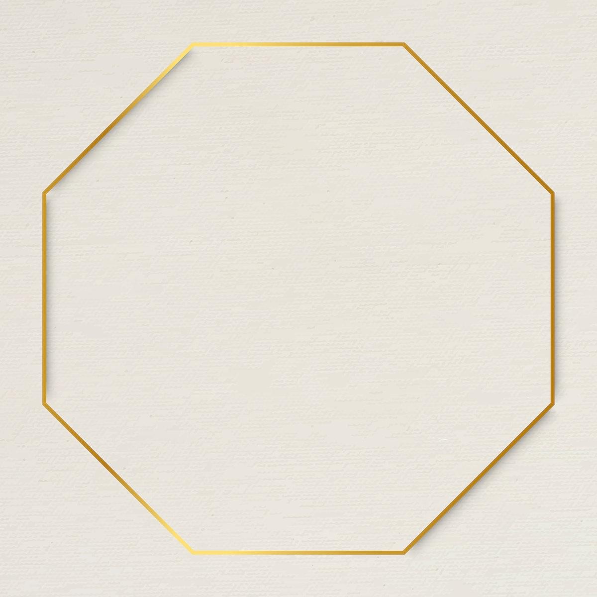 Octagon gold frame on beige background vector