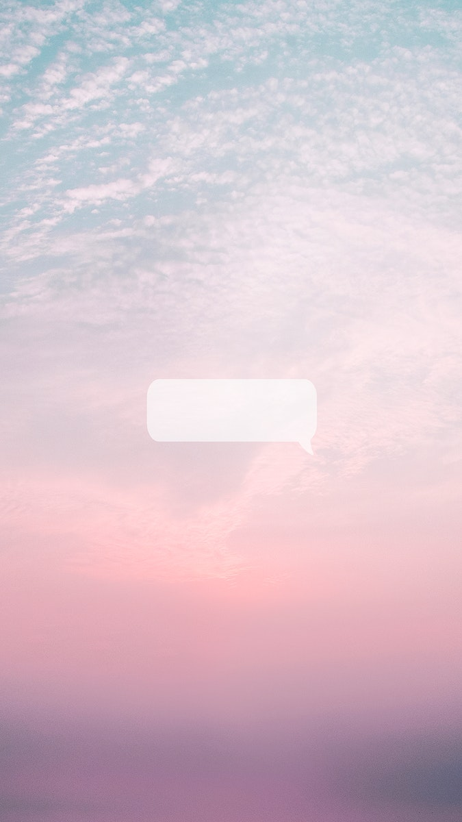 Cotton candy sky with blank speech bubble mobile wallpaper