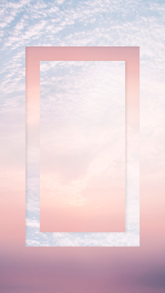 Cotton candy sky with a rectangle frame mobile wallpaper
