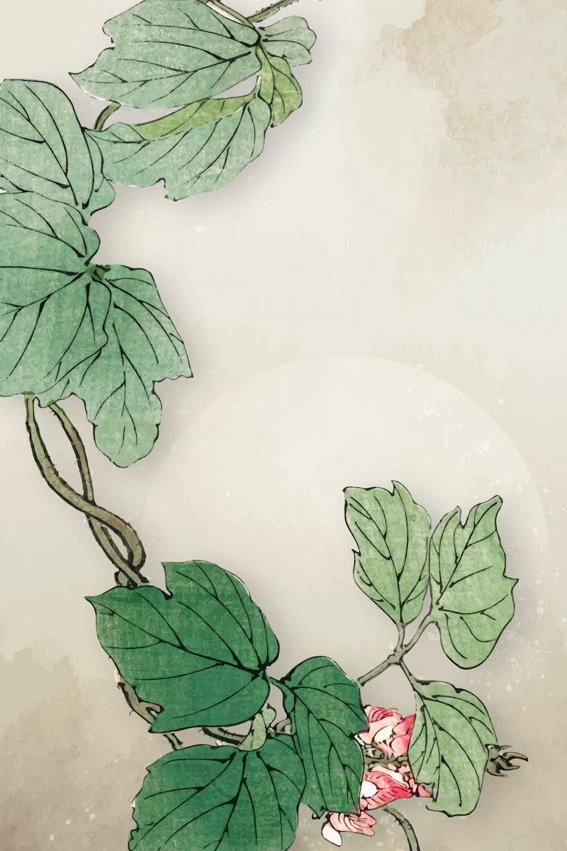 Blank leafy frame design vector