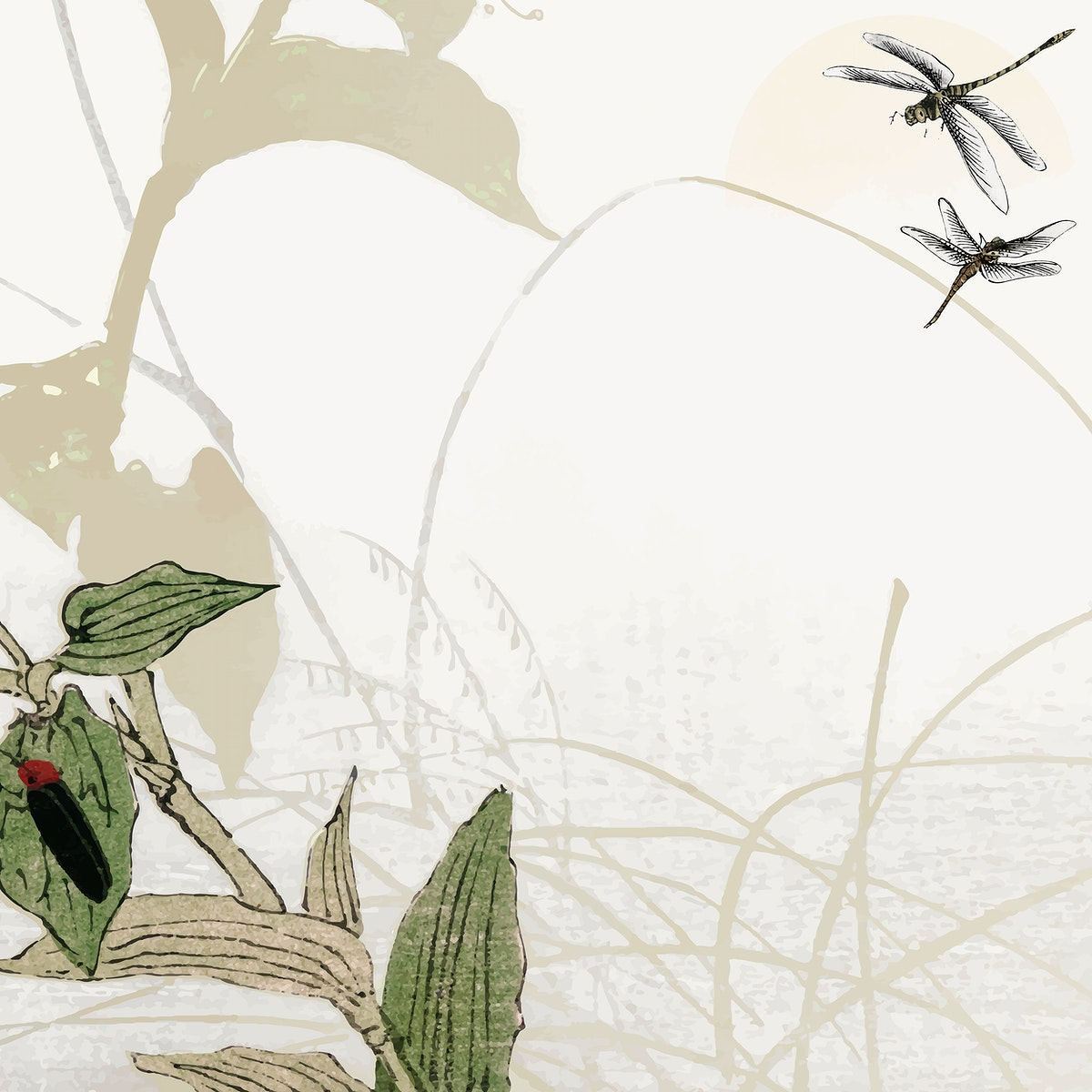 Leafy dragonfly frame design vector