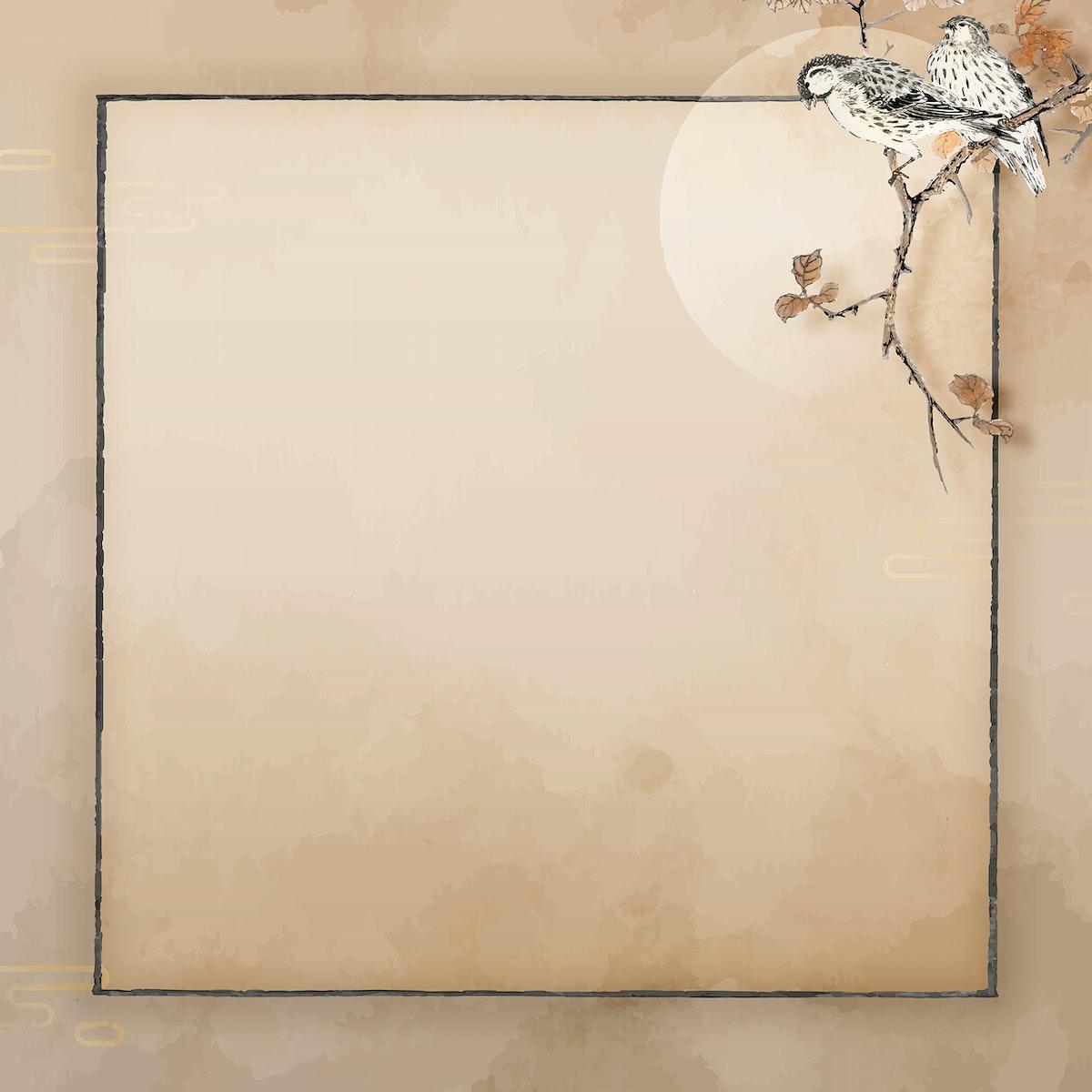 Blank square bird frame vector