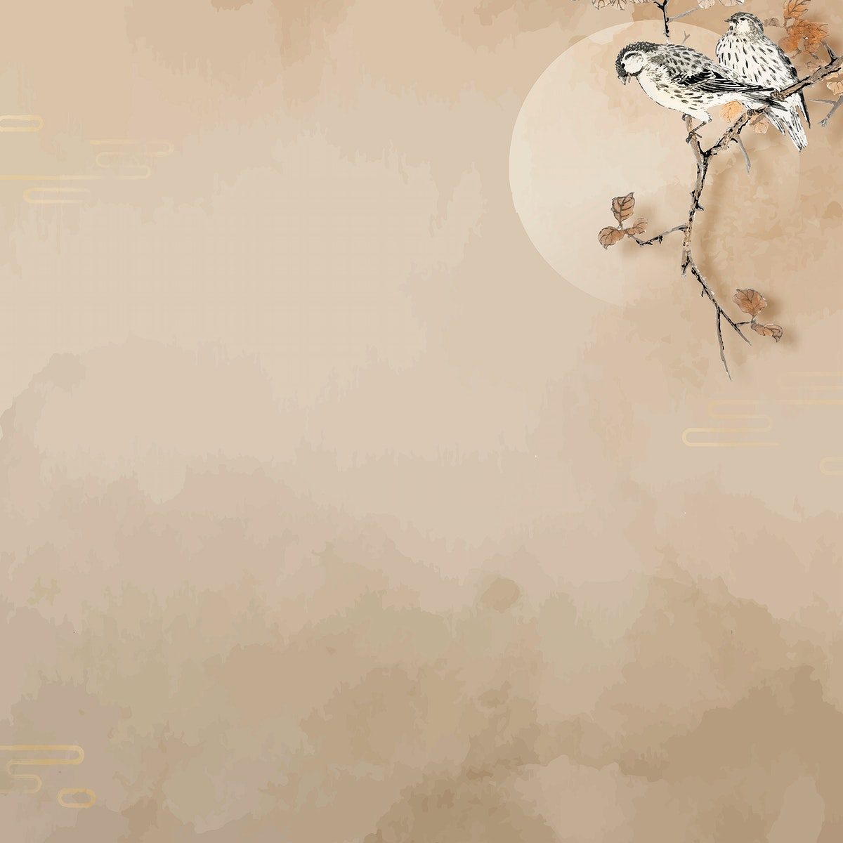 Blank beige bird frame vector