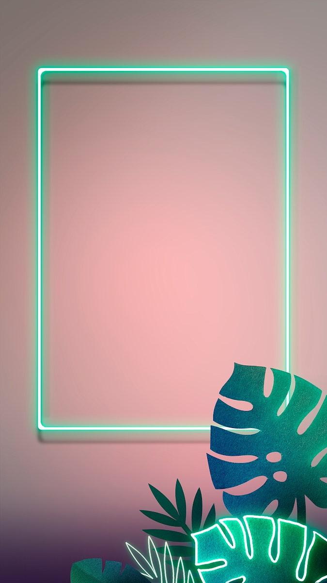 Leafy green neon frame mobile phone wallpaper