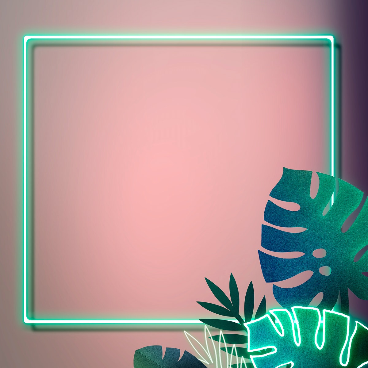 Blank square green neon leafy frame