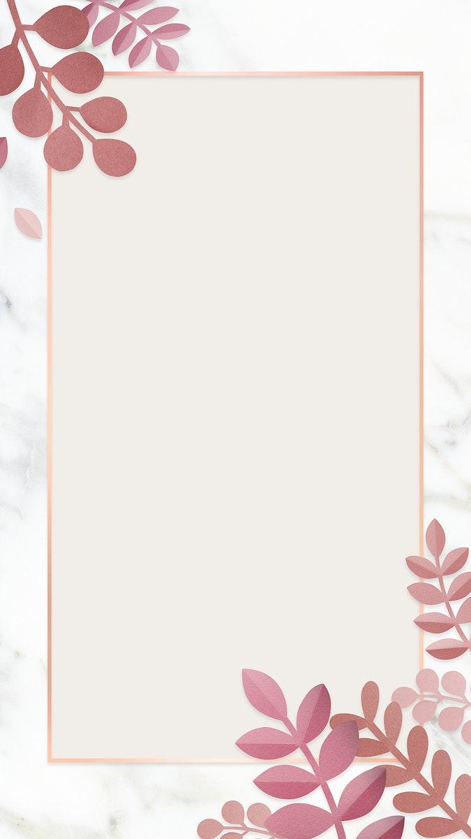 Leafy rectangle frame design mobile phone wallpaper