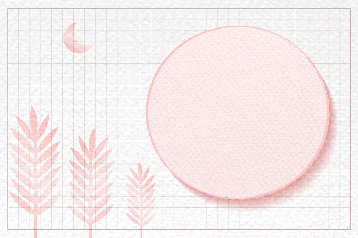 Round frame on pink botanical patterned background vector