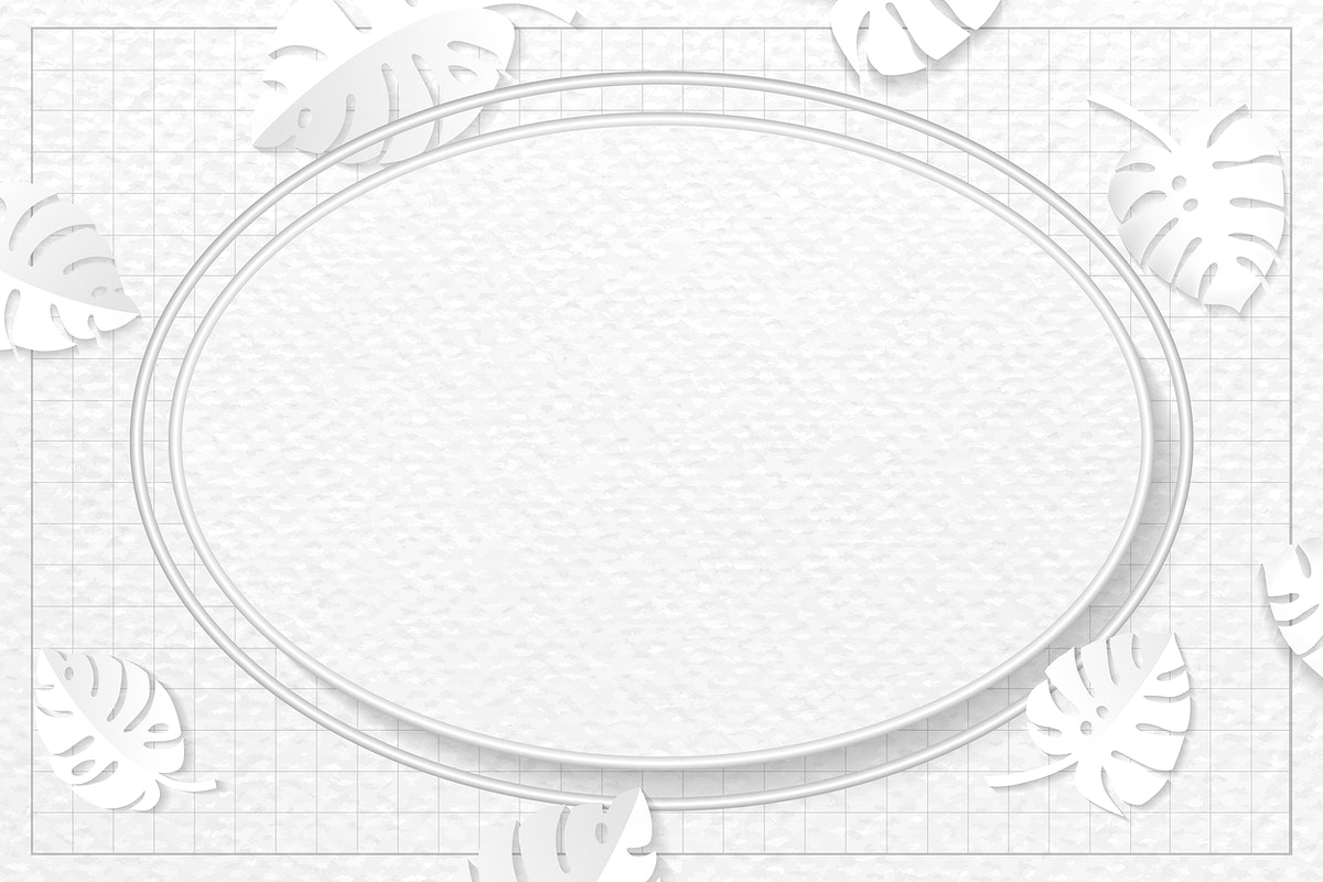 Oval frame on monstera patterned vector