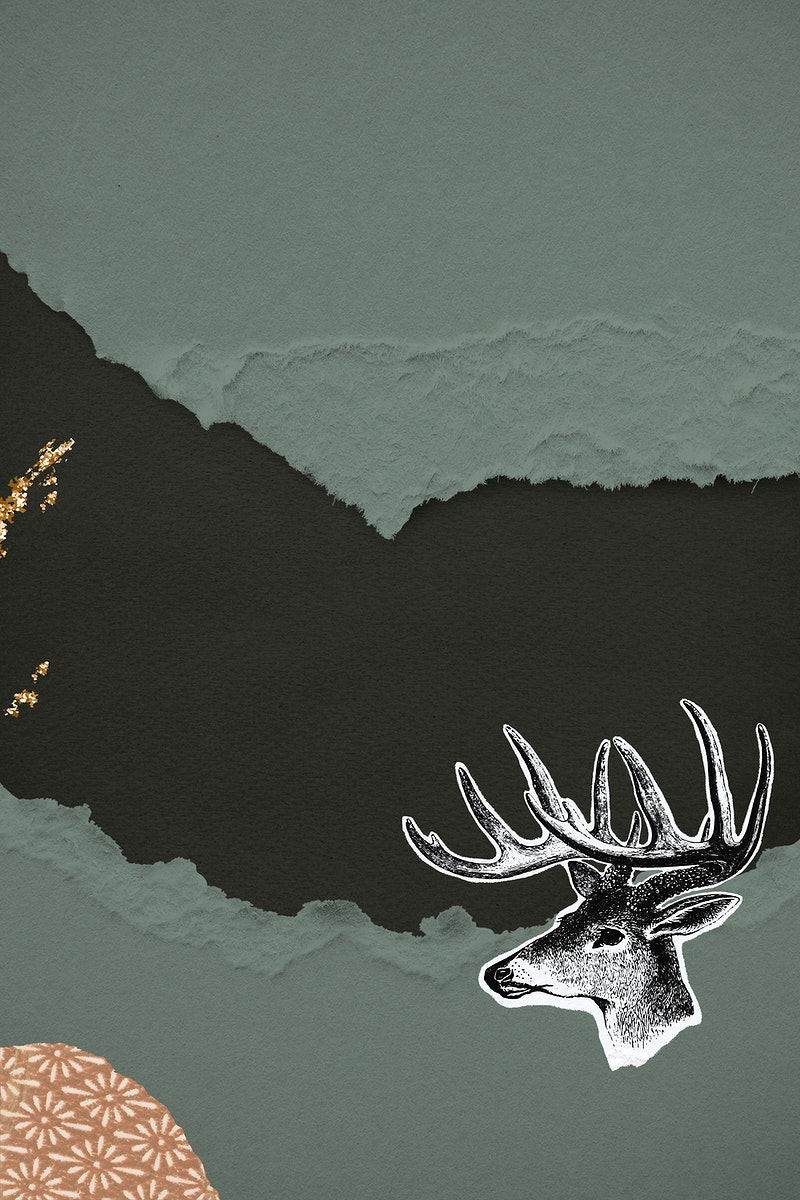 Hand drawn deer on a ripped green paper background illustration
