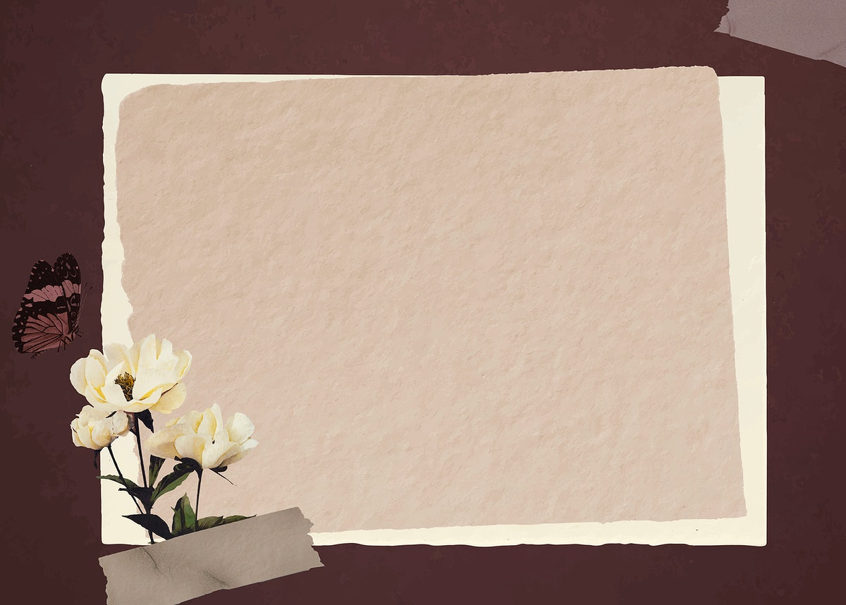 Butterfly with white peonies and brown paper background vector