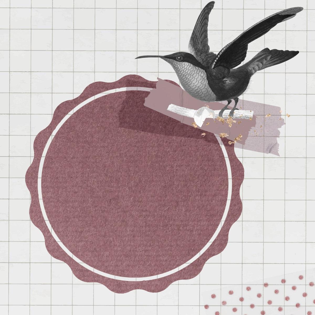 Garnet-throated hummingbird with round badge vector