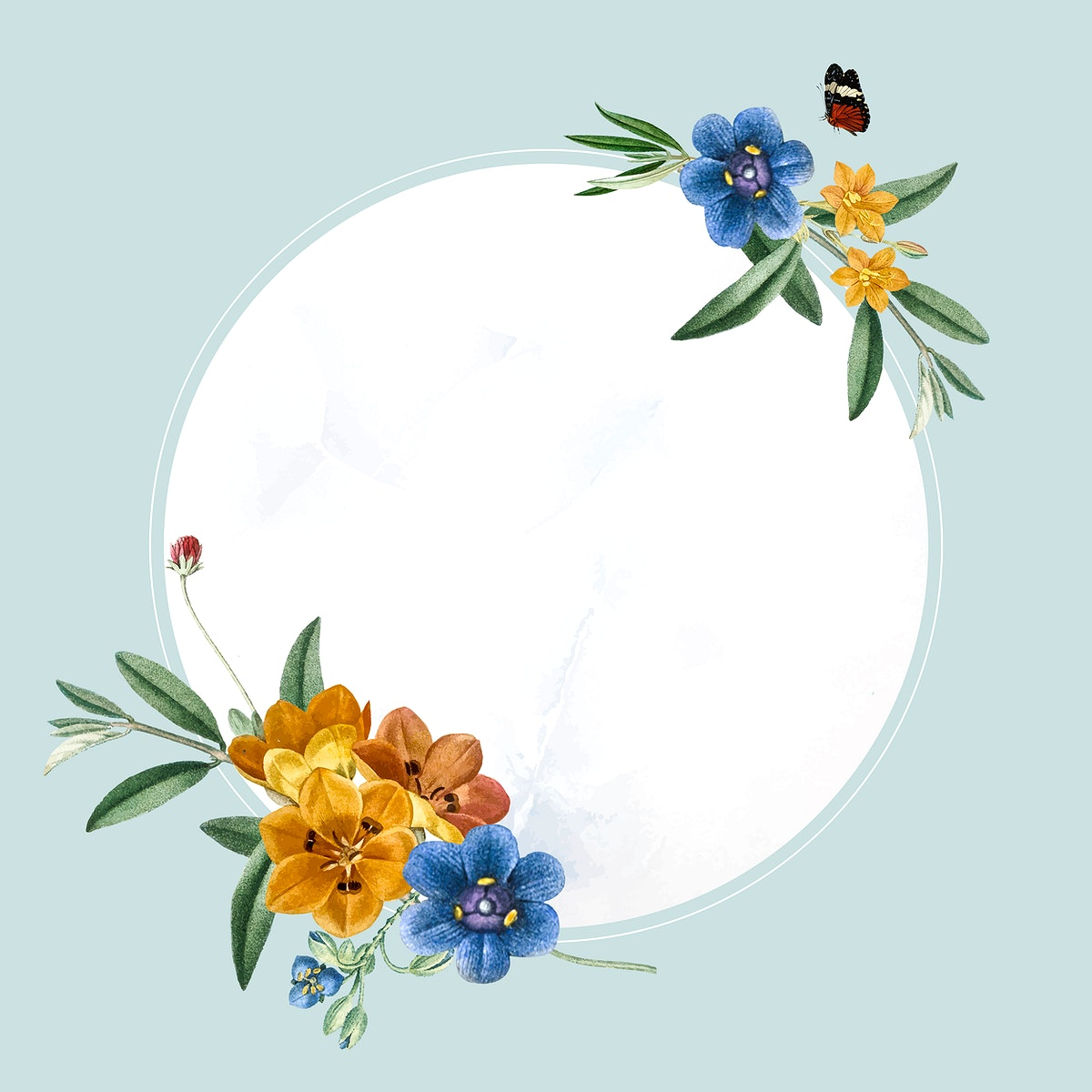 Round oval floral frame vector