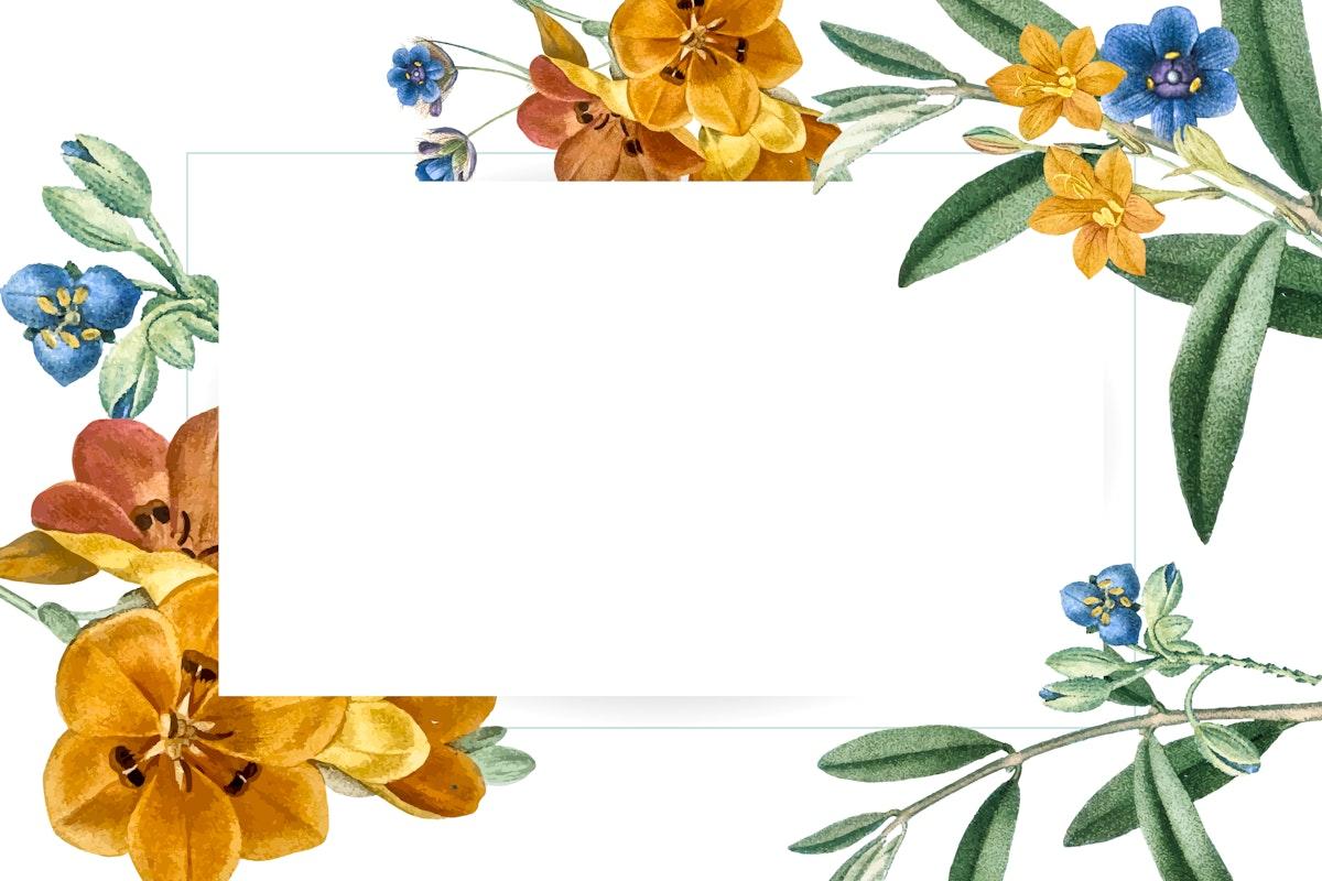 Floral rectangle frame design vector