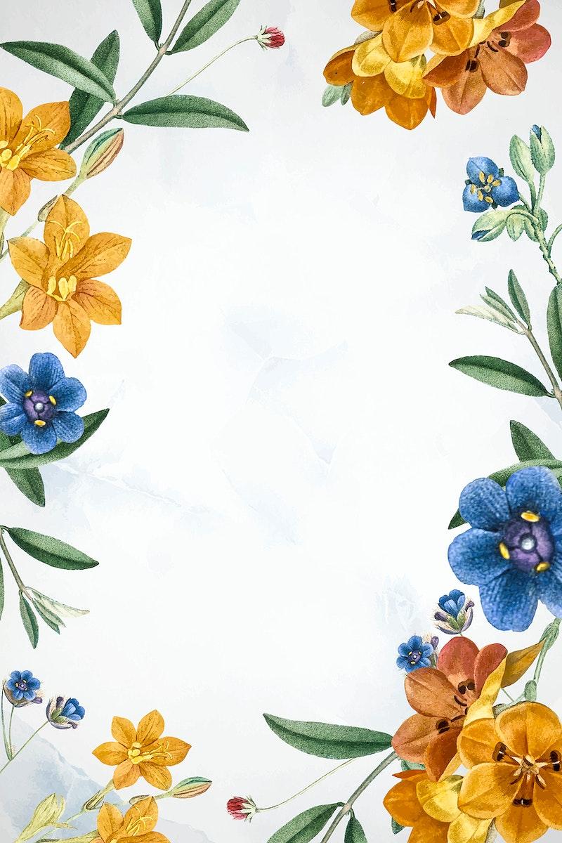 White floral frame design vector