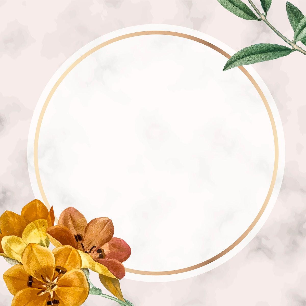 Round golden floral frame design vector