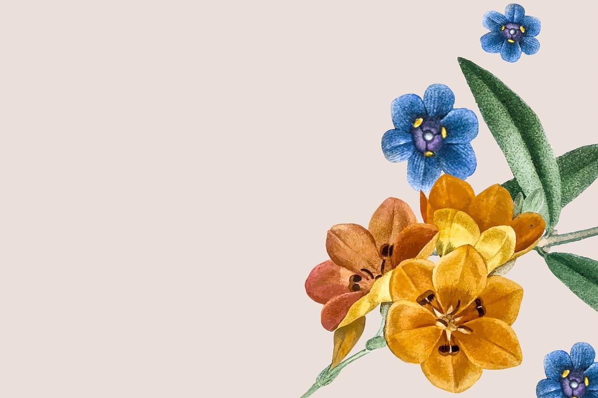 Cream floral frame design vector