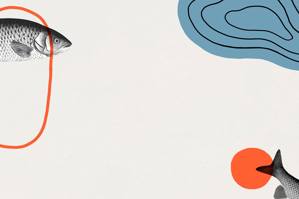 Vintage fish frame art vector