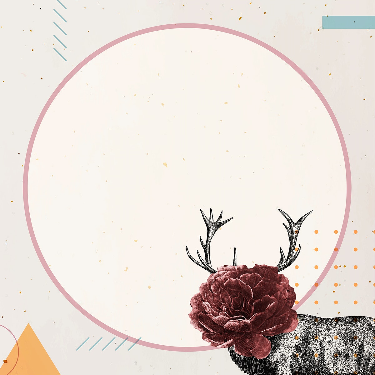 Blank round frame with a deer vector