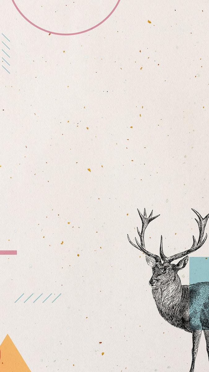 Blank geometric deer frame design mobile phone wallpaper