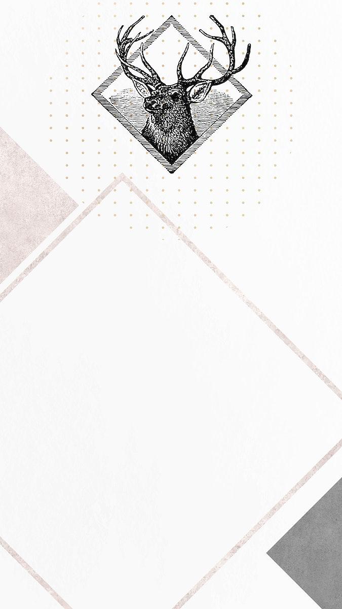 Blank deer rhombus frame vector mobile phone wallpaper