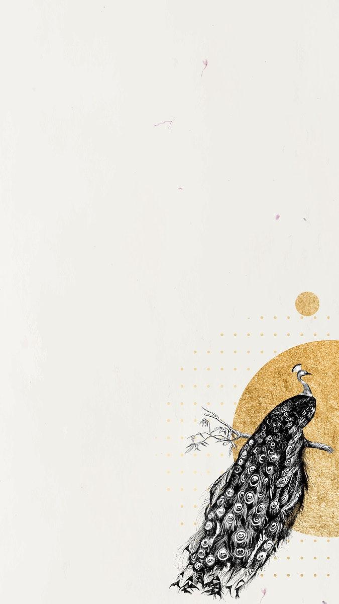 Blank golden shimmering peacock frame vector mobile phone wallpaper