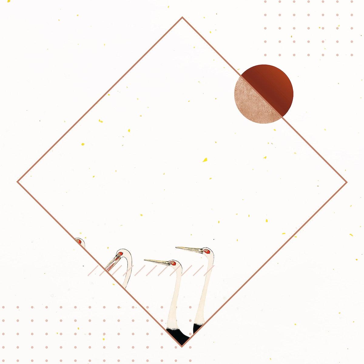 Heron rhombus frame design vector