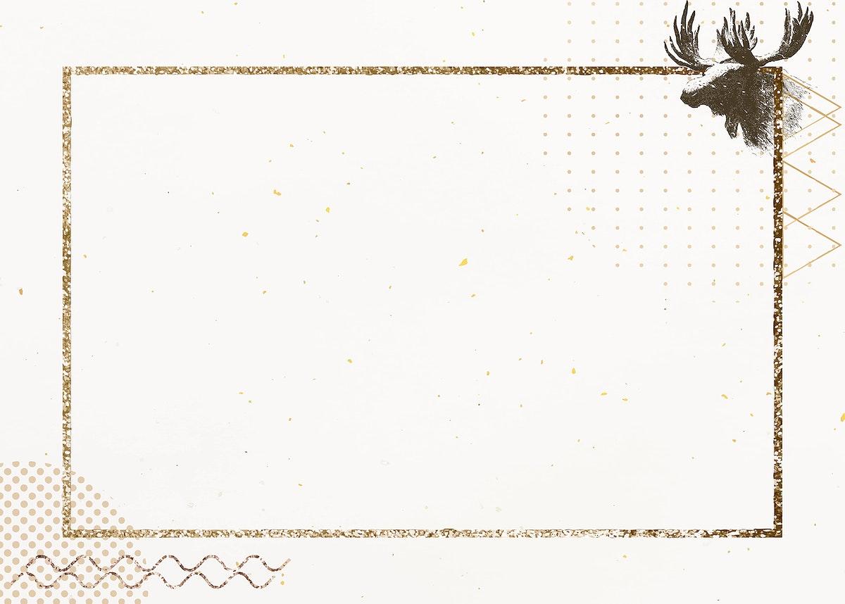 Golden shimmering rectangle frame with a deer vector