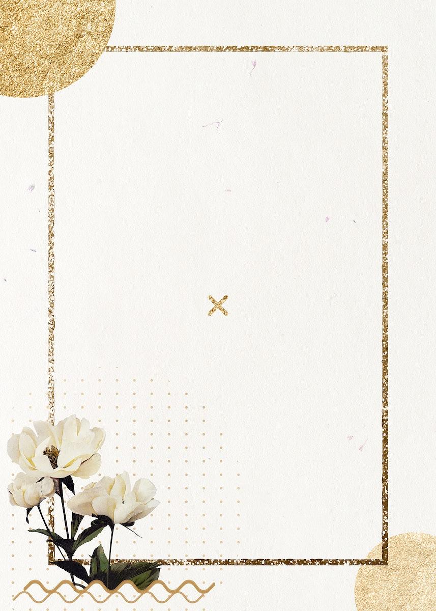 Golden shimmering rectangle frame design