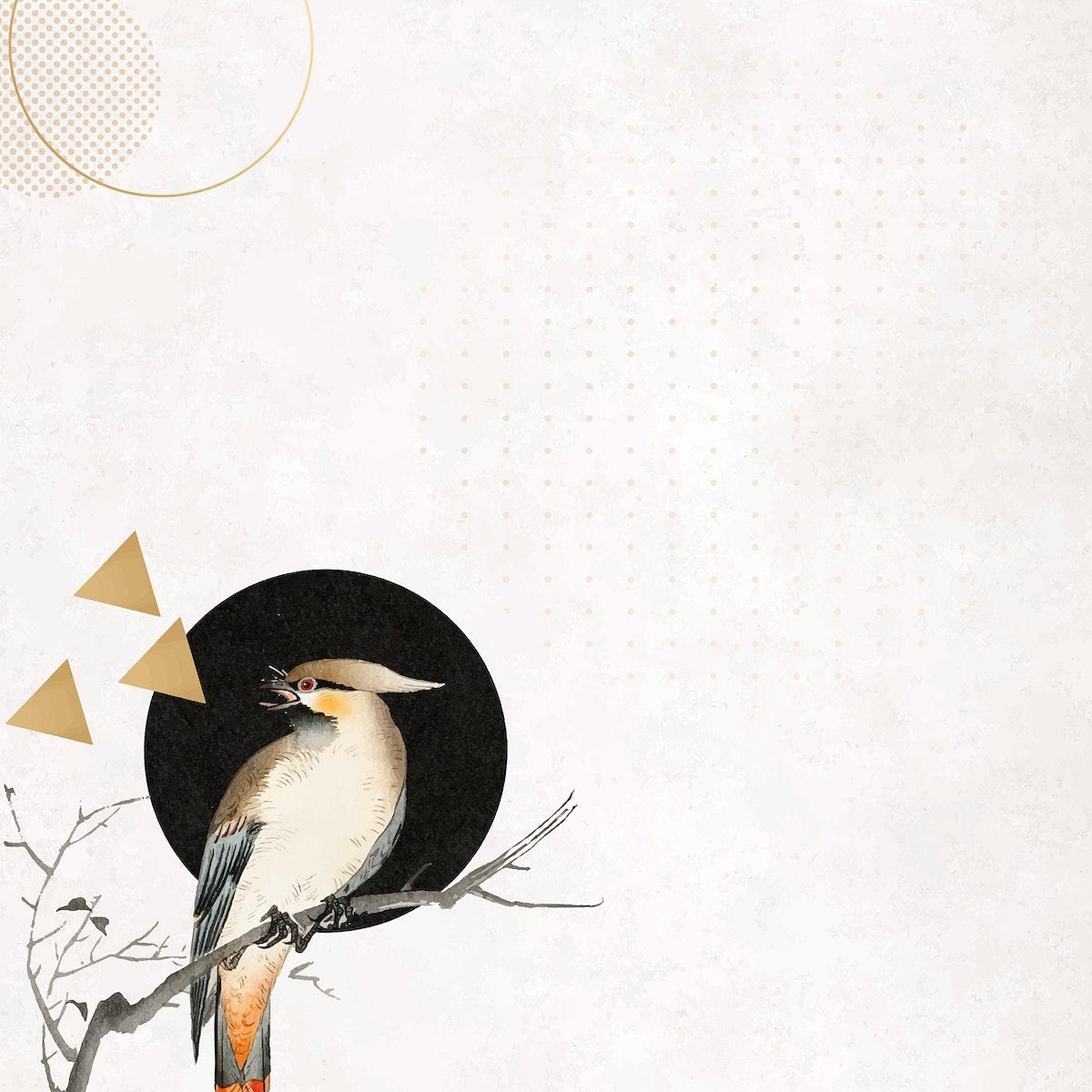 Bird on a branch frame vector mobile phone wallpaper
