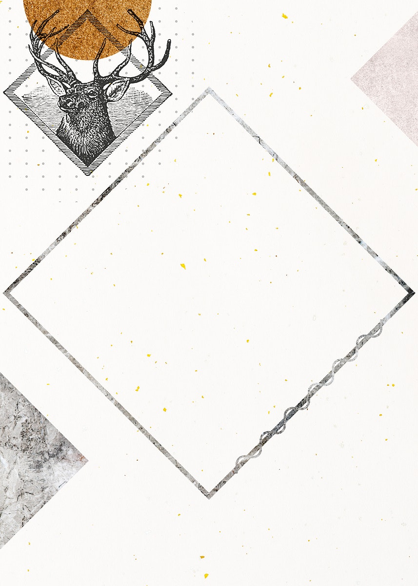Blank rhombus deer frame design