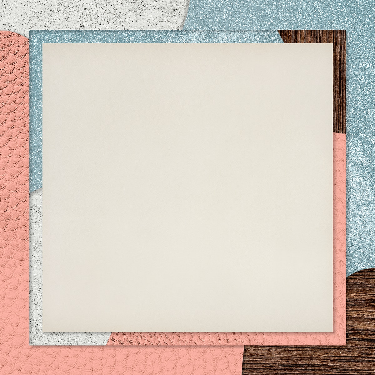 Frame on pink and blue collage textured background vector