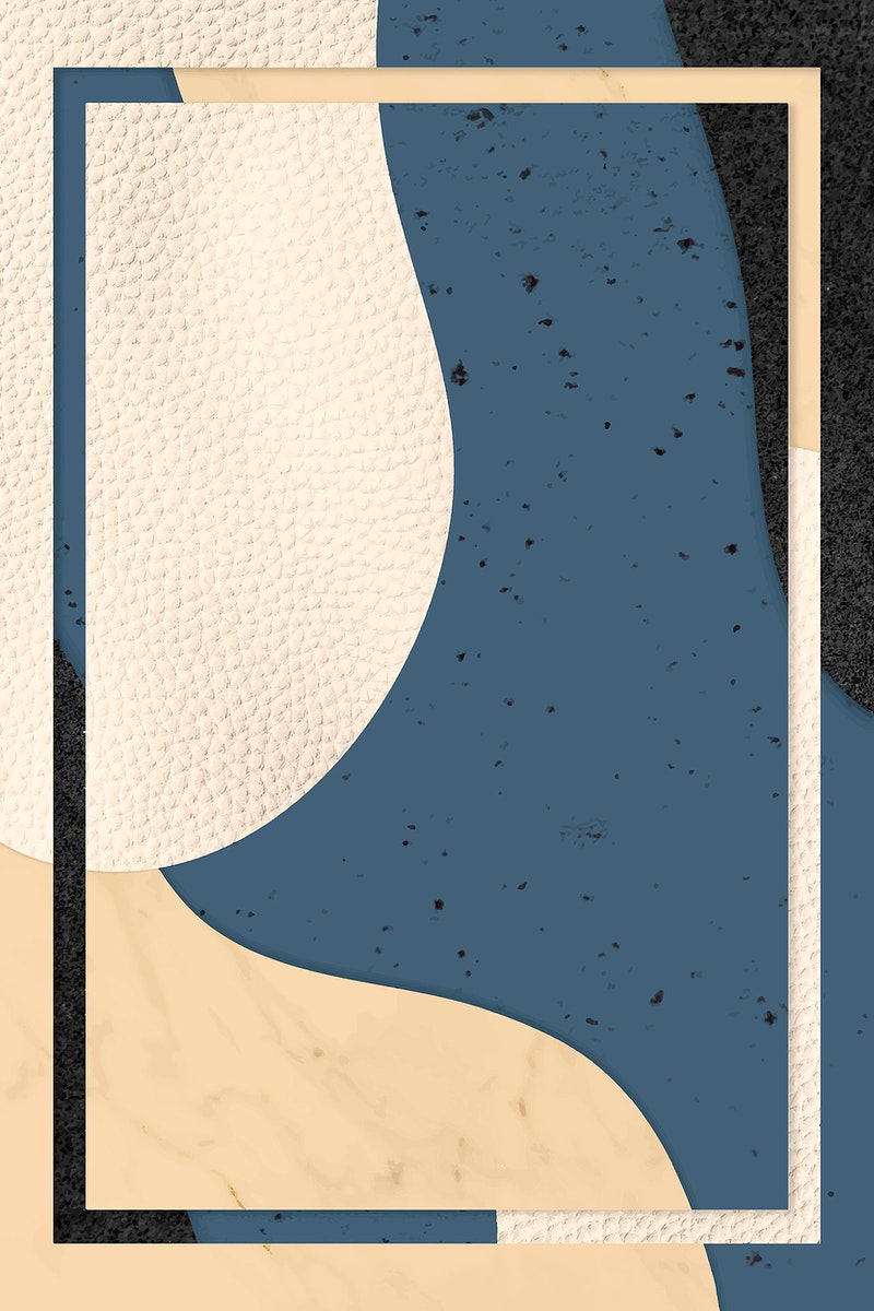 Frame on blue and beige pattern background vector