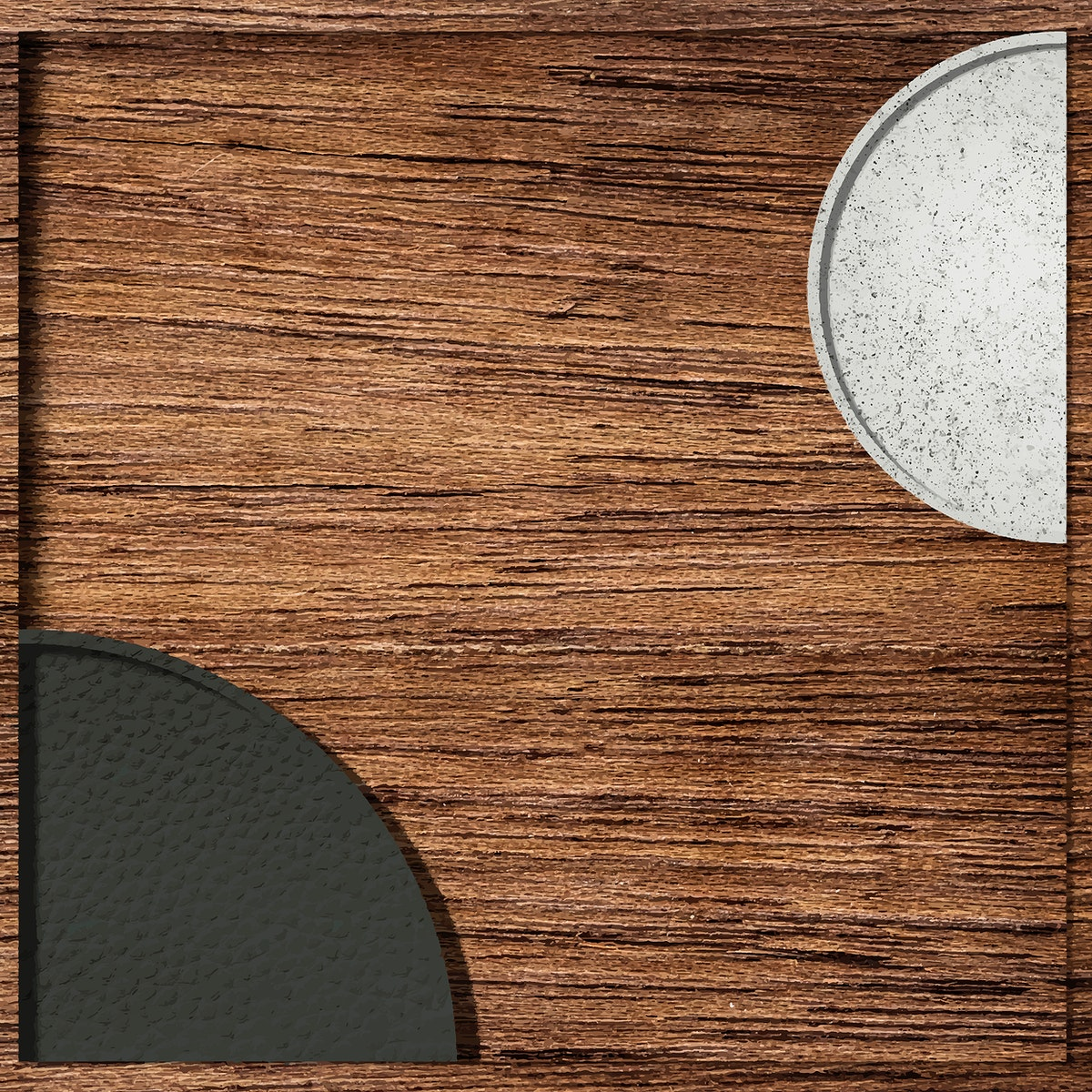 Black and white semicircles pattern on wooden background vector