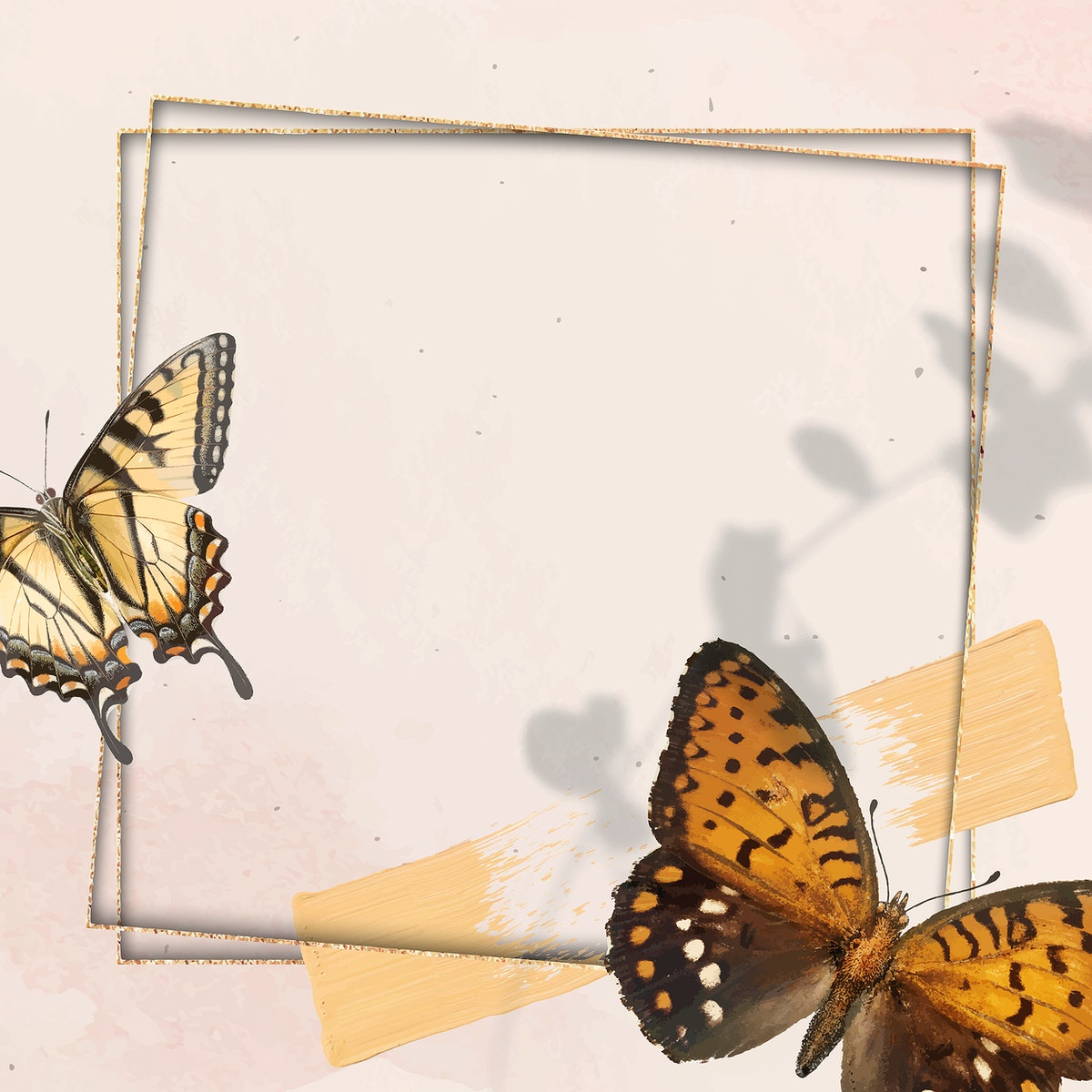 Gold frame with butterfly patterned background vector
