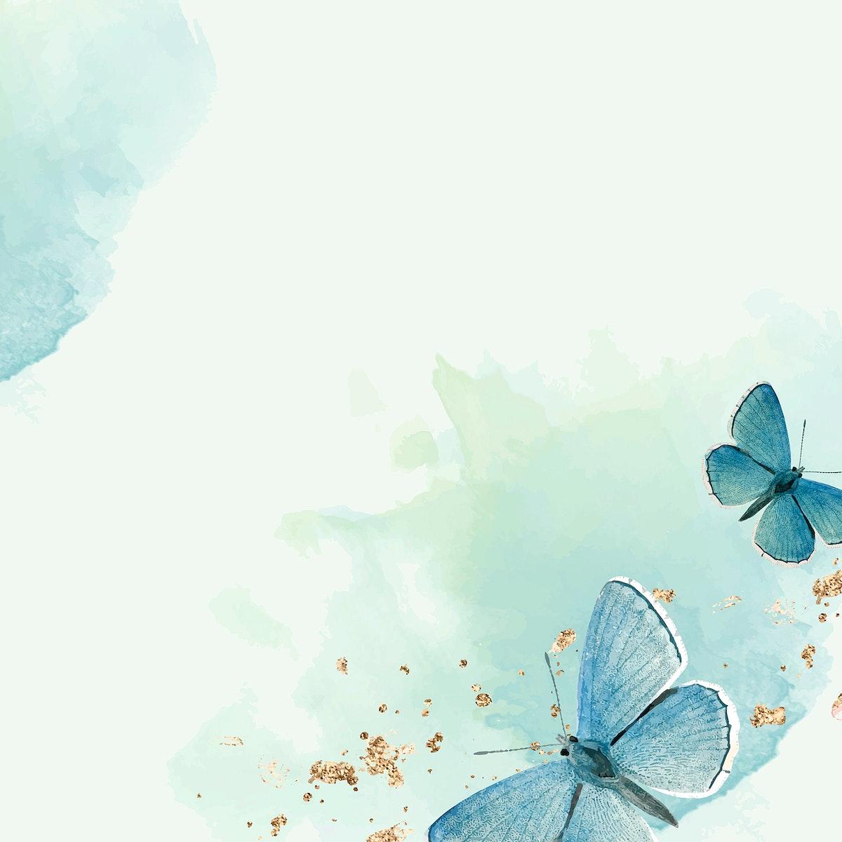 Blue butterflies patterned background vector