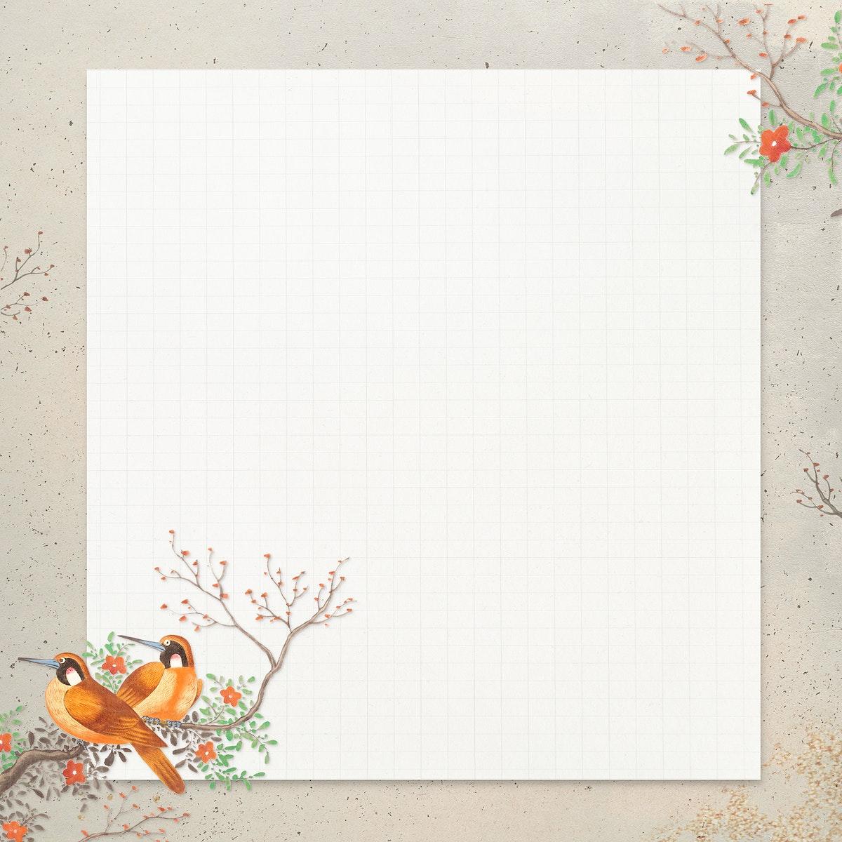 Two brown bird pattern on beige background illustration